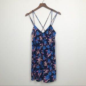 ZARA Strappy Mini Dress Bright Floral Print XS